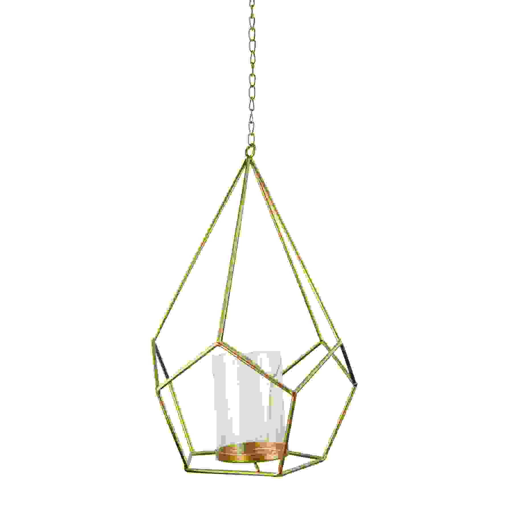 WIRE DIAMOND LANTERN w/GLASS G