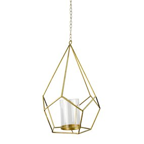 WIRE DIAMOND LANTERN w/GLASS