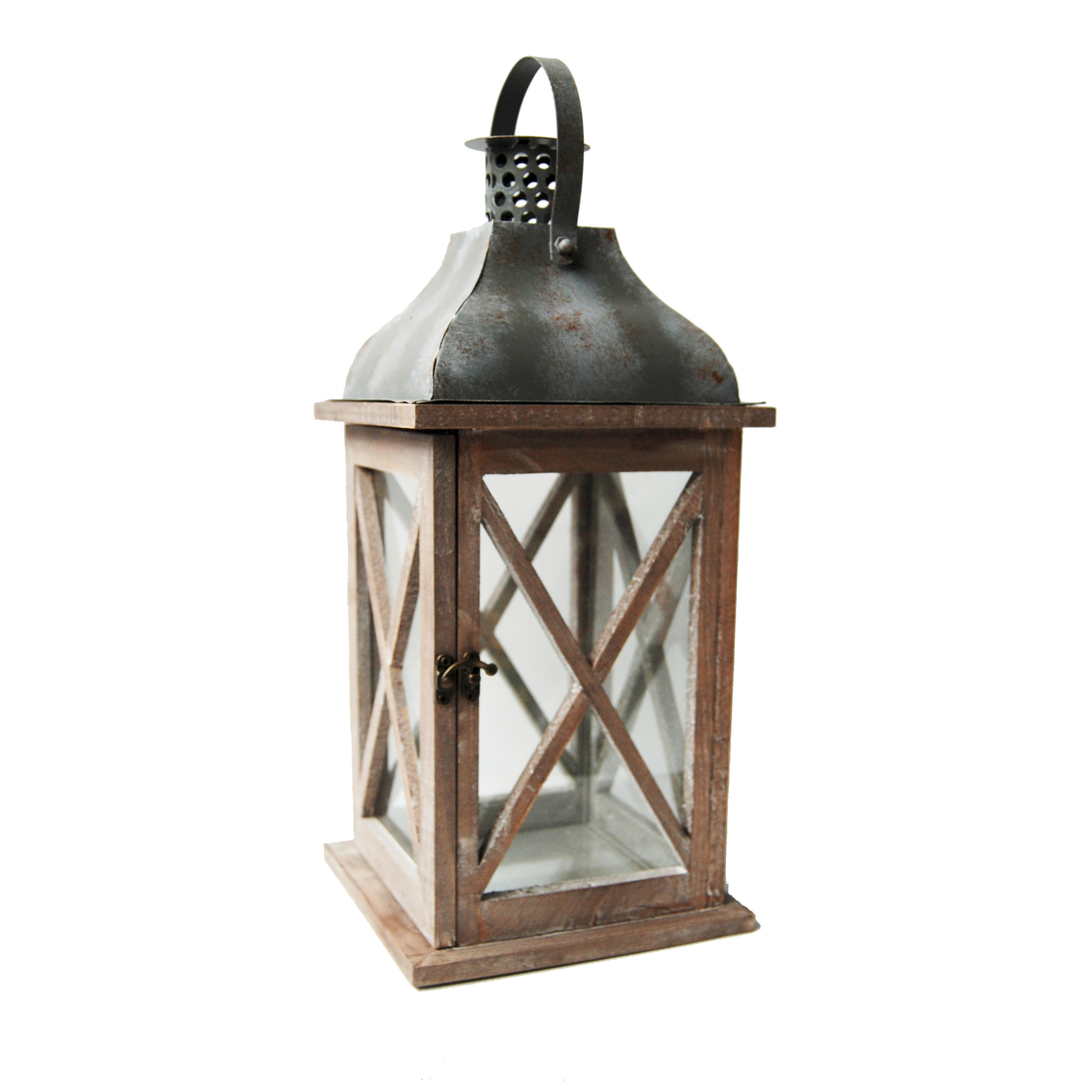 WOOD LANTERN w/TIN ROOF