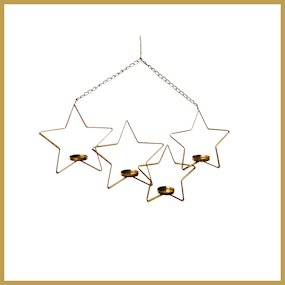 HANG. 4 PC STAR T-LIGHT HOLDER