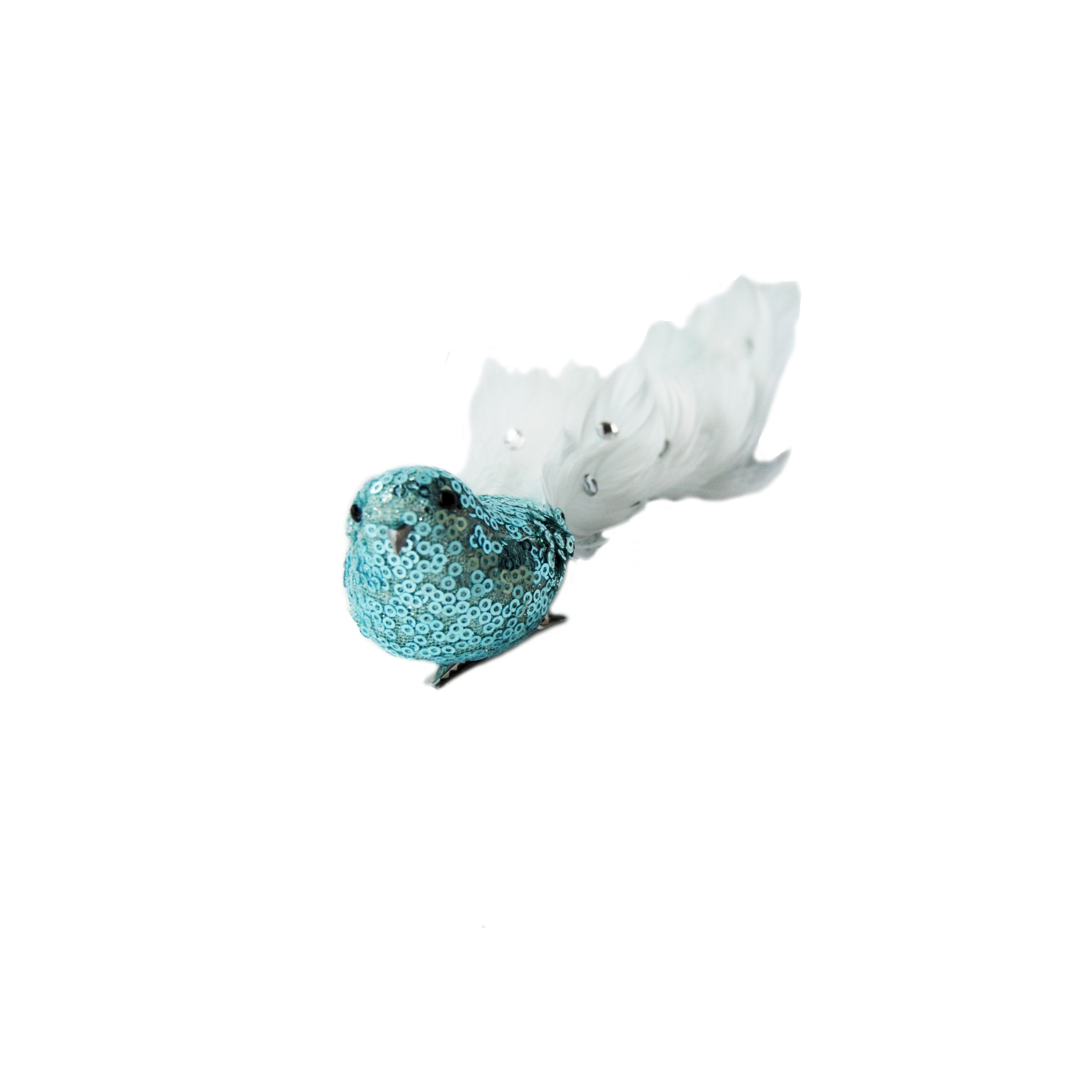 BIRD 30cm BLUE LONG FEATHER TAIL w/CLIP