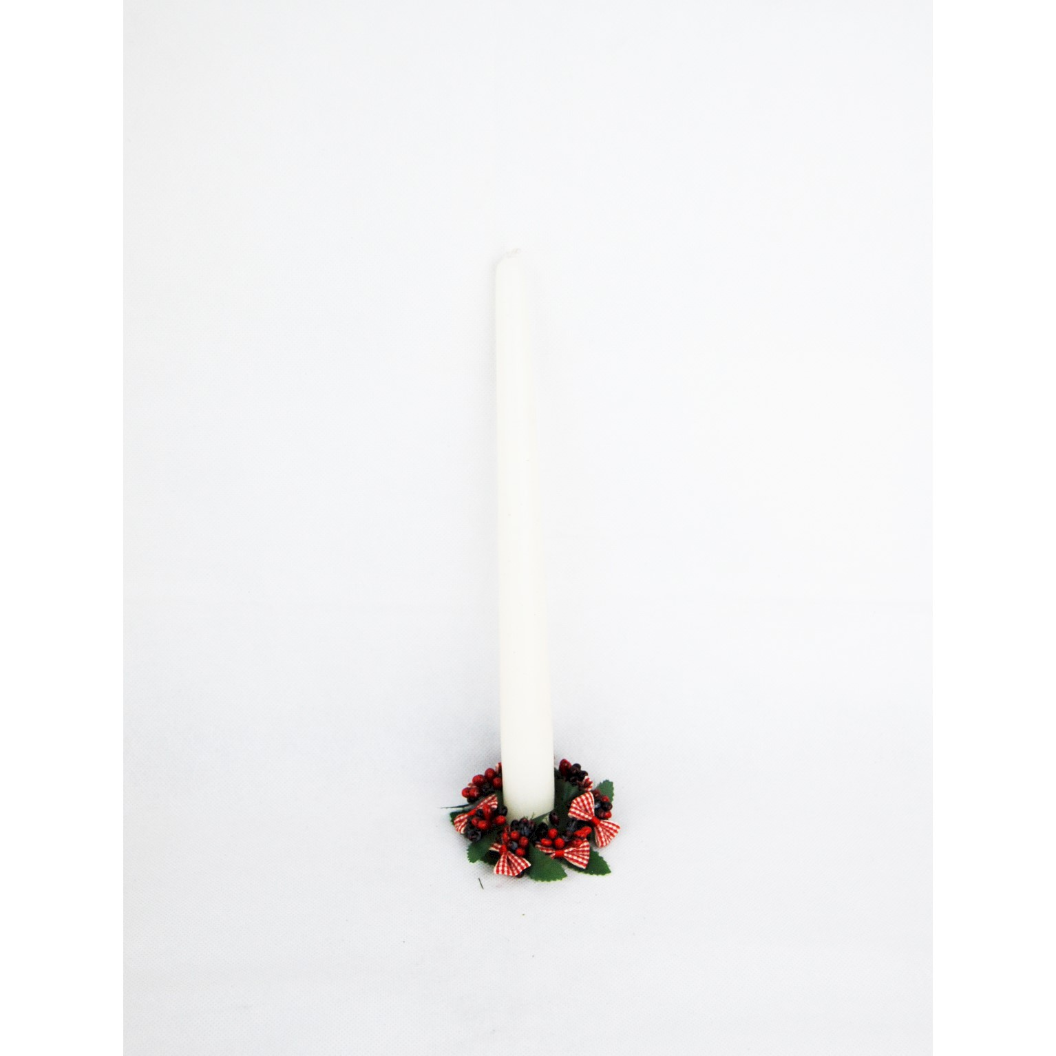CANDLE RING 4cm RED BERRY/DOG TOOTH RIBBON