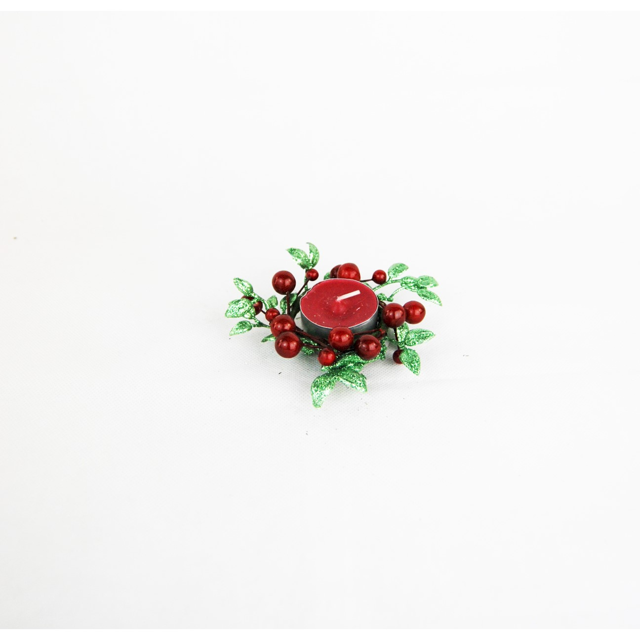 CANDLE RING 4cm RED BERRY