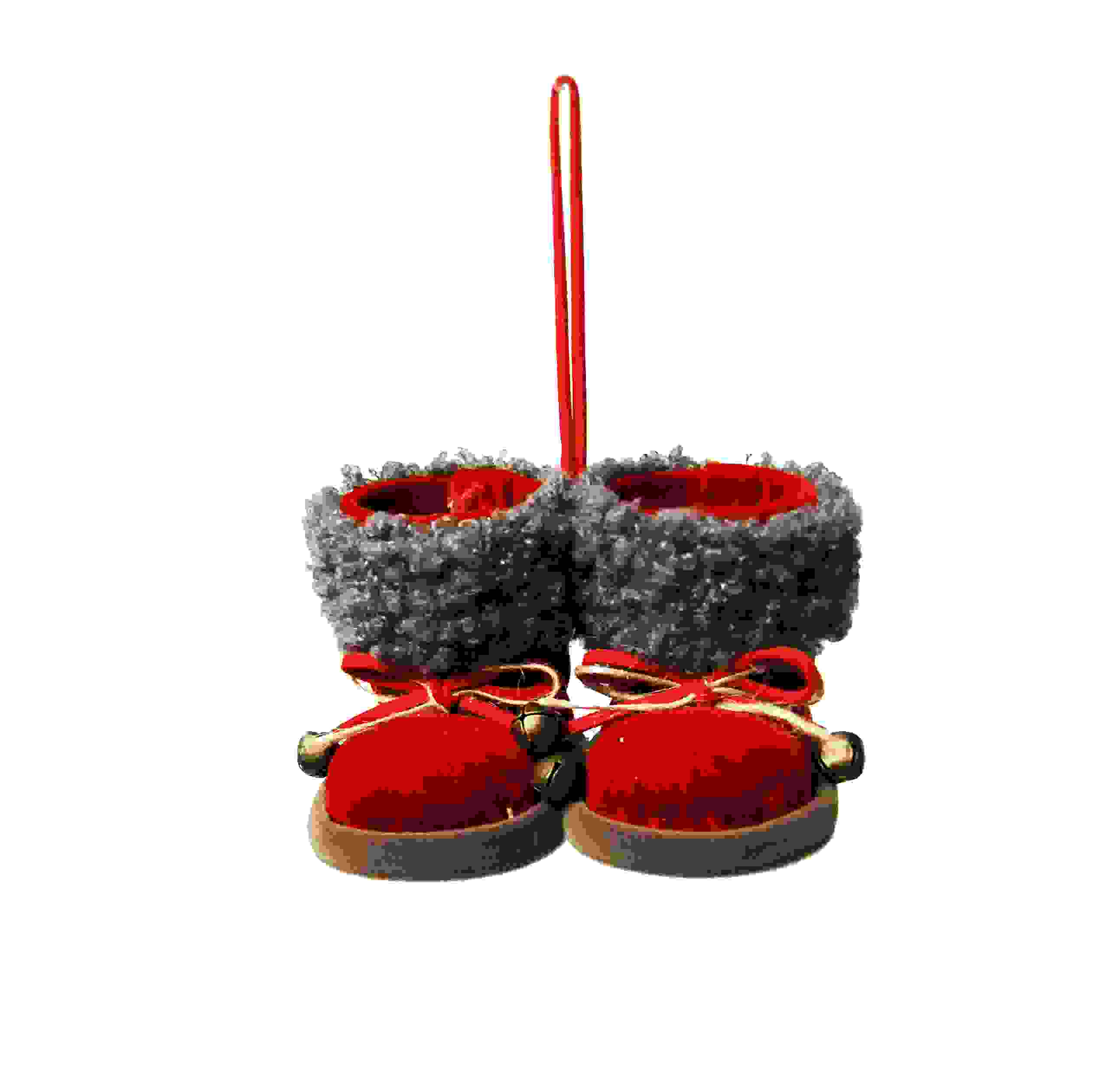 HANG. WOOL/FELT GREY/RED SANTA BOOTS
