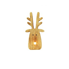 WOODEN STAG HEAD ORNAMENT w/LIGHT