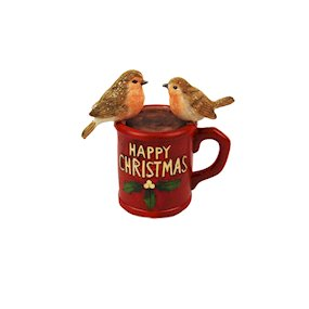 'HAPPY CHRISTMAS' MUG w/ROBINS