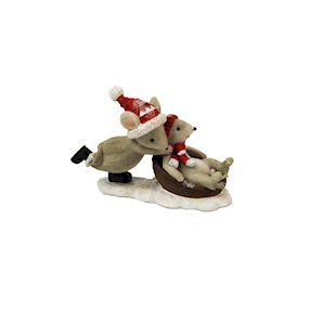 MOUSE PUSHING MOUSE w/SLEIGH