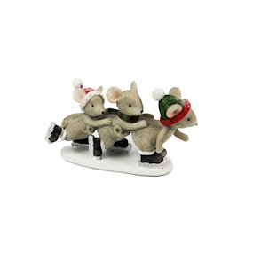 MICE ON SKIS RESIN ORNAMENT