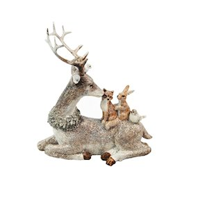 DEER w/WOODLAND ANIMALS