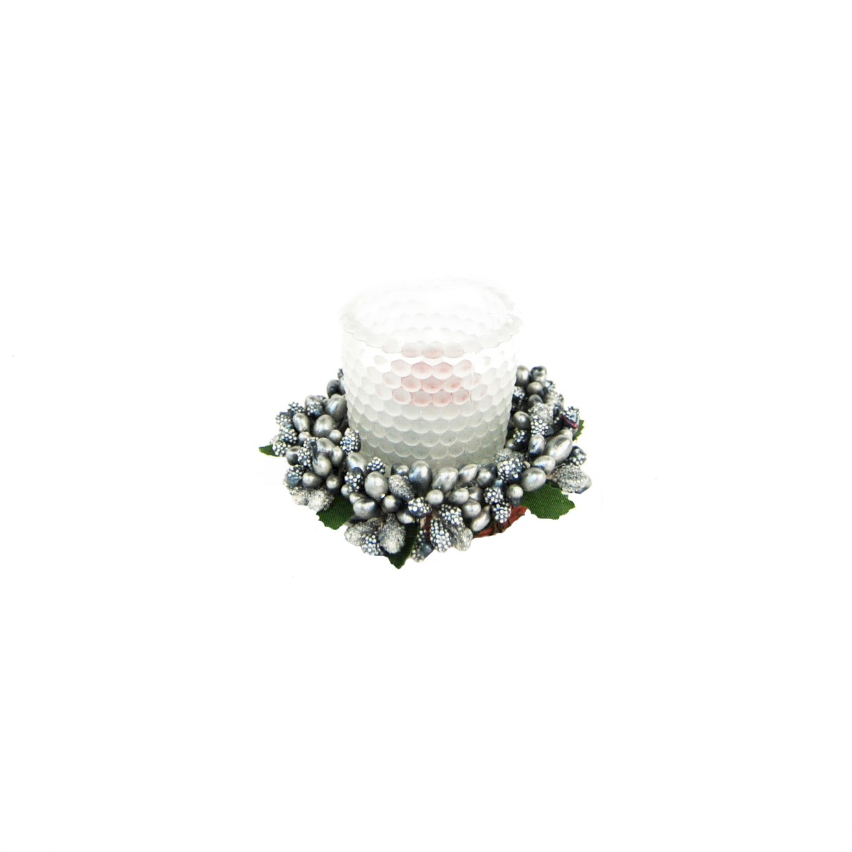 CANDLE RING 6cm GREEN BERRYBUD