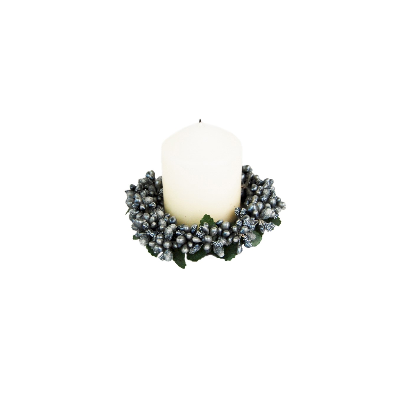CANDLE RING 8cm GREEN BERRYBUD