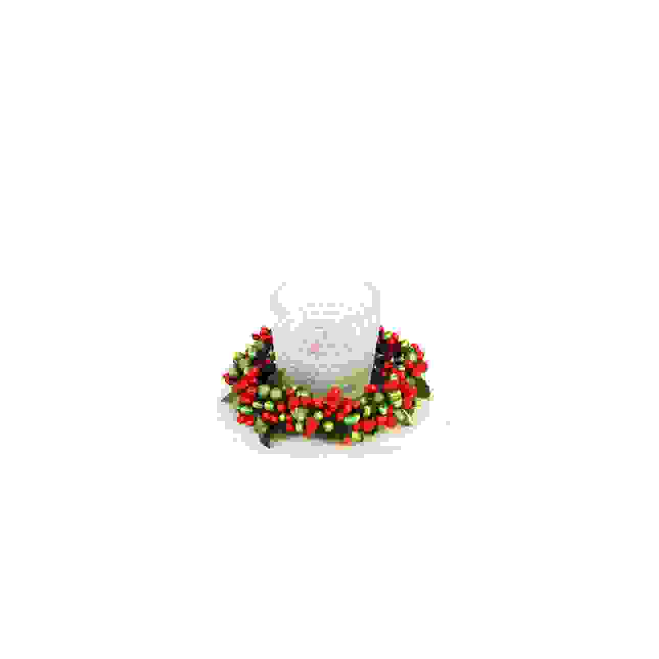 CANDLE RING 6cm GREEN/RED BERRYBUD
