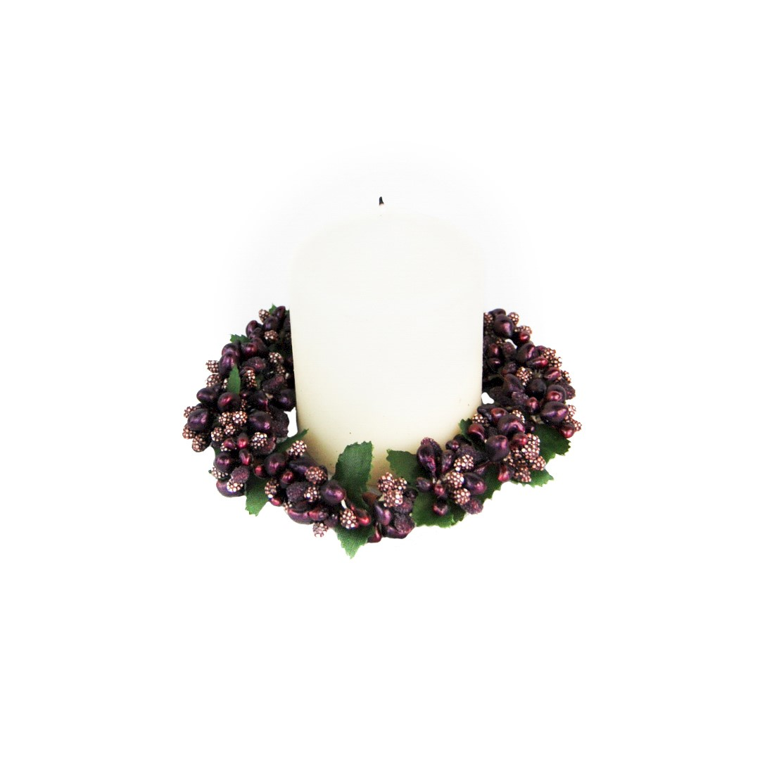 CANDLE RING 8cm PURPLE BERRYBUD