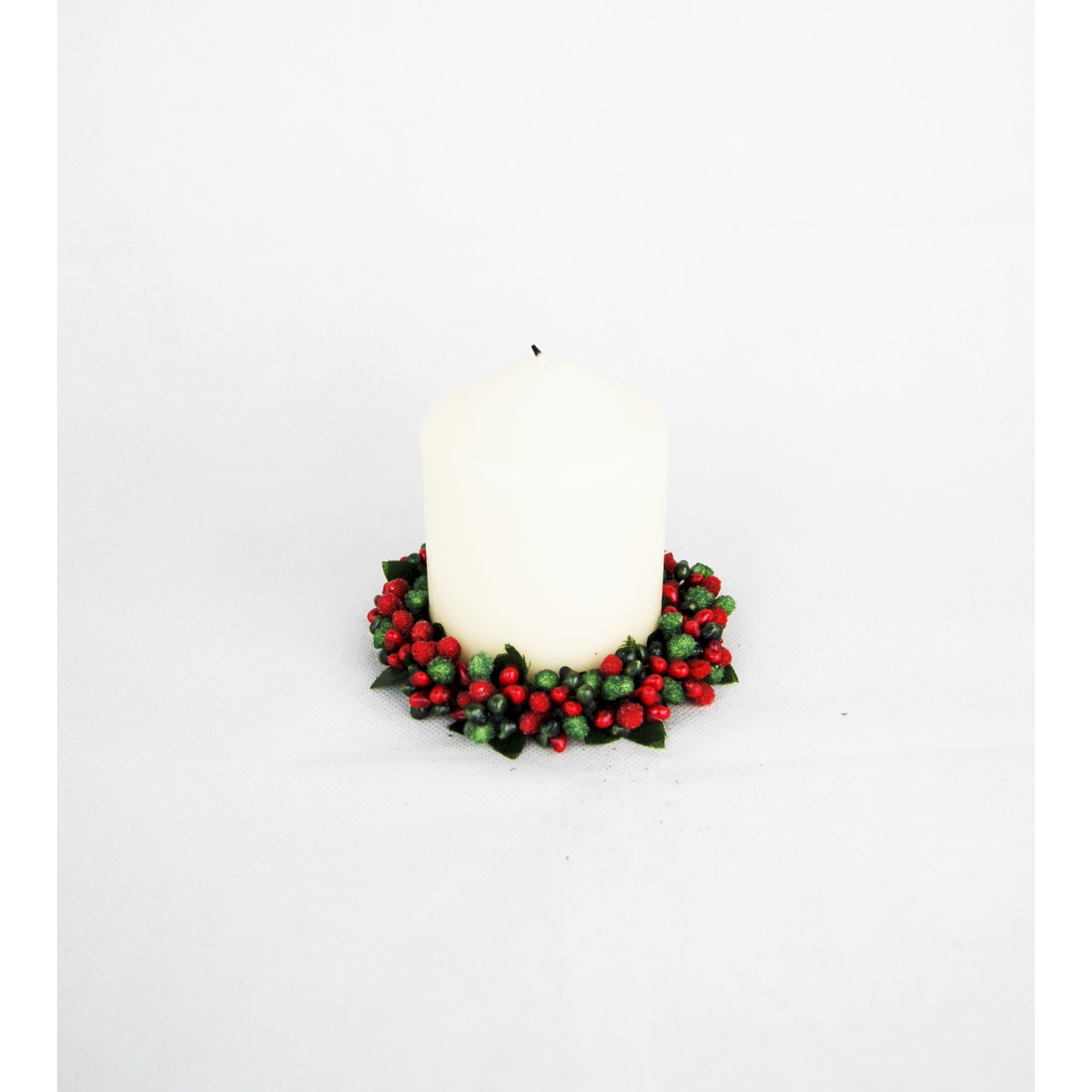 CANDLE RING 7cm RED/GREEN BERRYBUD