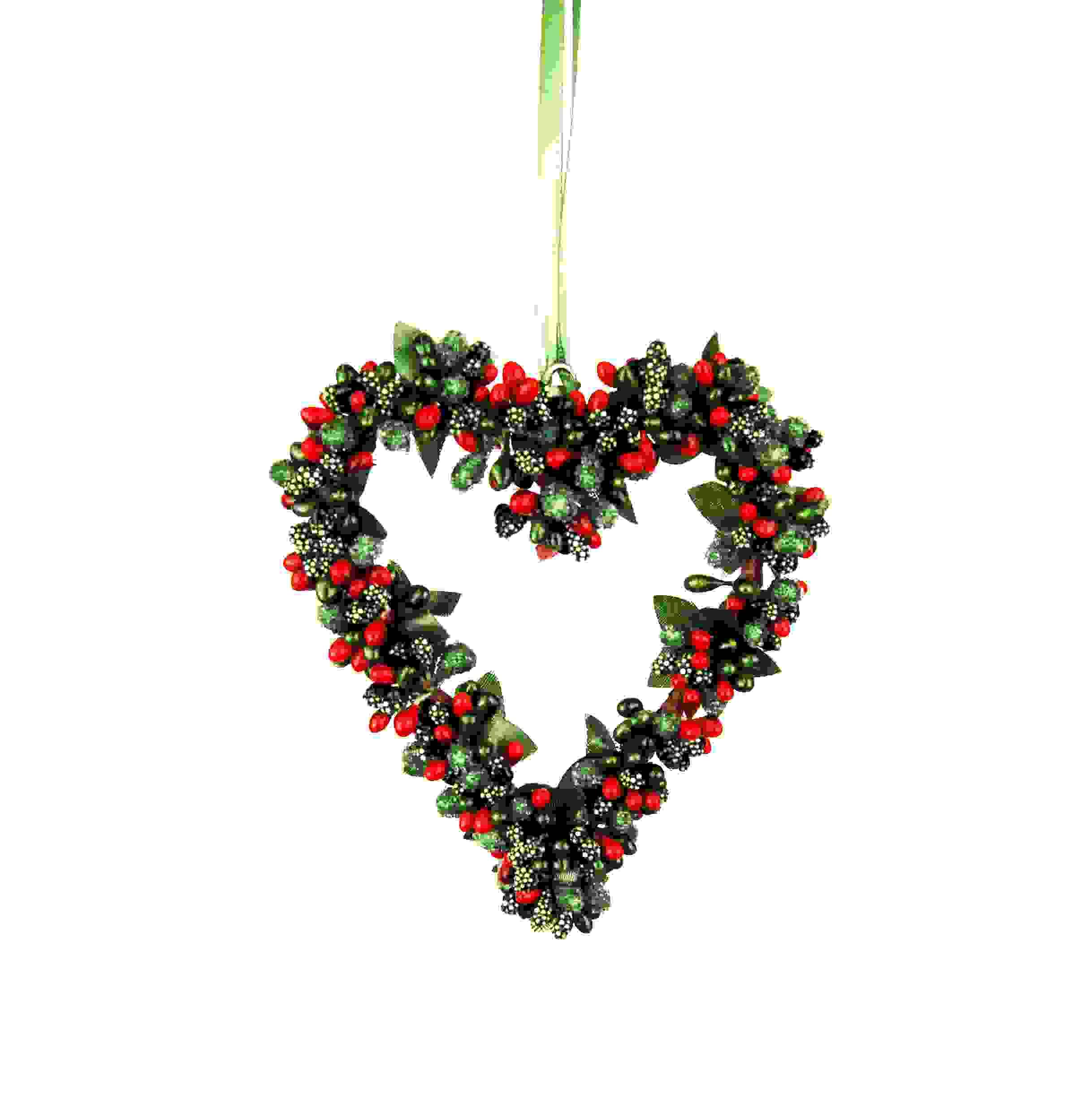 HANG. RED/GREEN BERRYBUD HEART 14cm