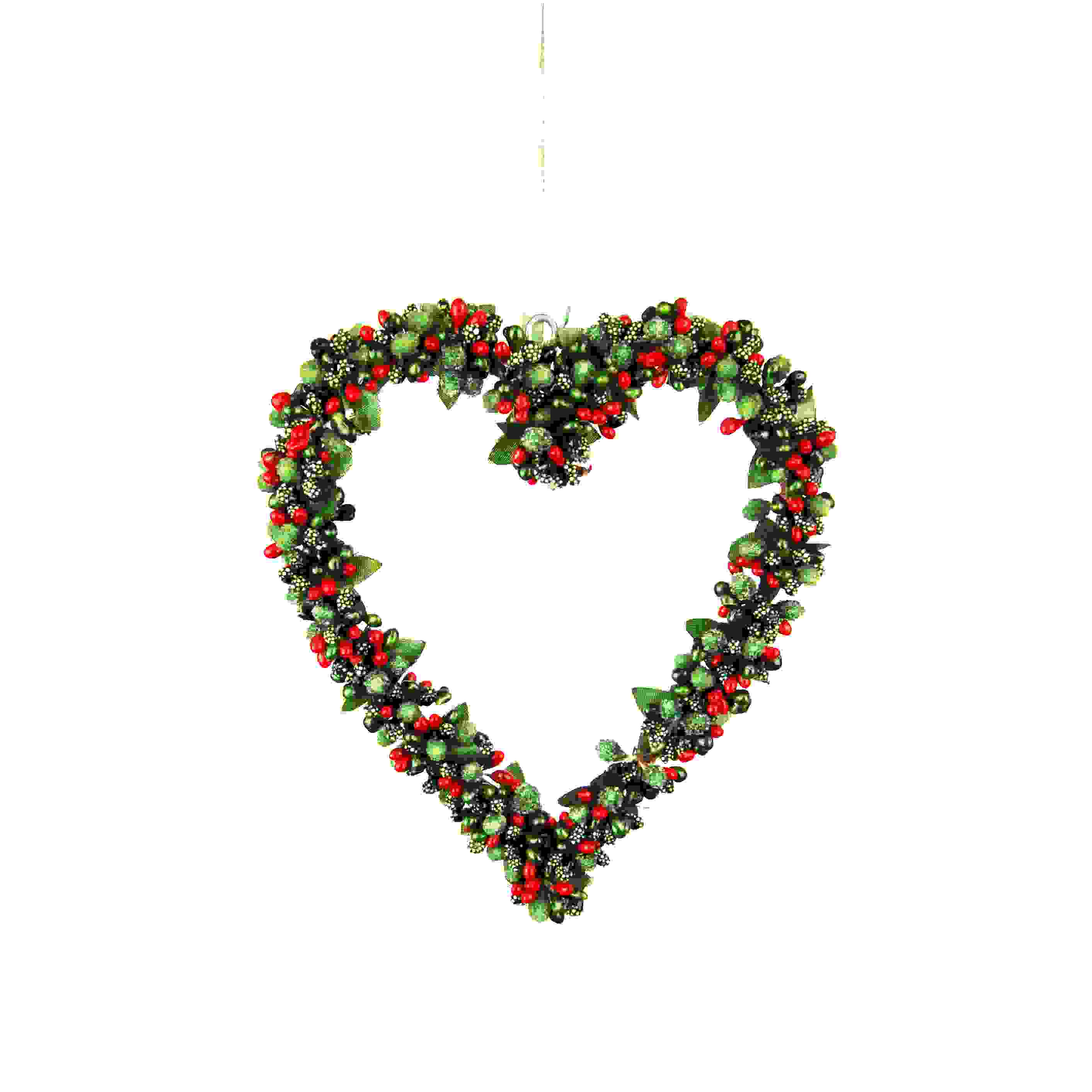 HANG. RED/GREEN BERRYBUD HEART 20cm