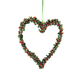 HANG. RED/GREEN BERRYBUD HEART 25cm