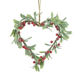 HANG. RED BERRY MISTLETOE HEART