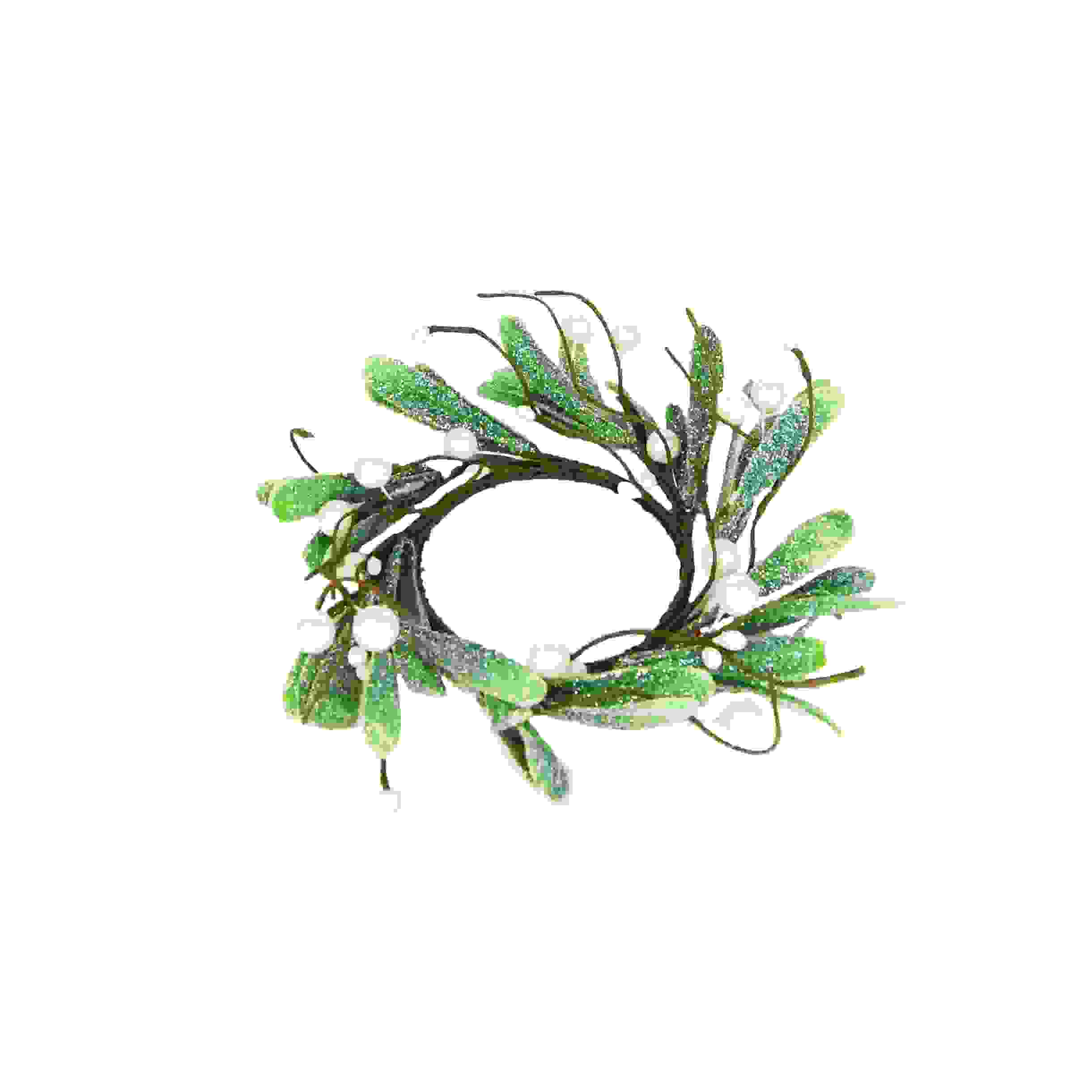 CANDLE RING 8cm MISTLETOE