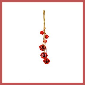 HANG. RED METAL SLEIGH BELL DROP