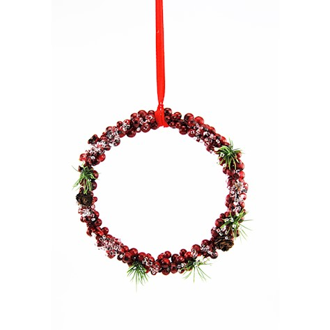HANG. RING RED BERRY ICED w/FIR & CONE