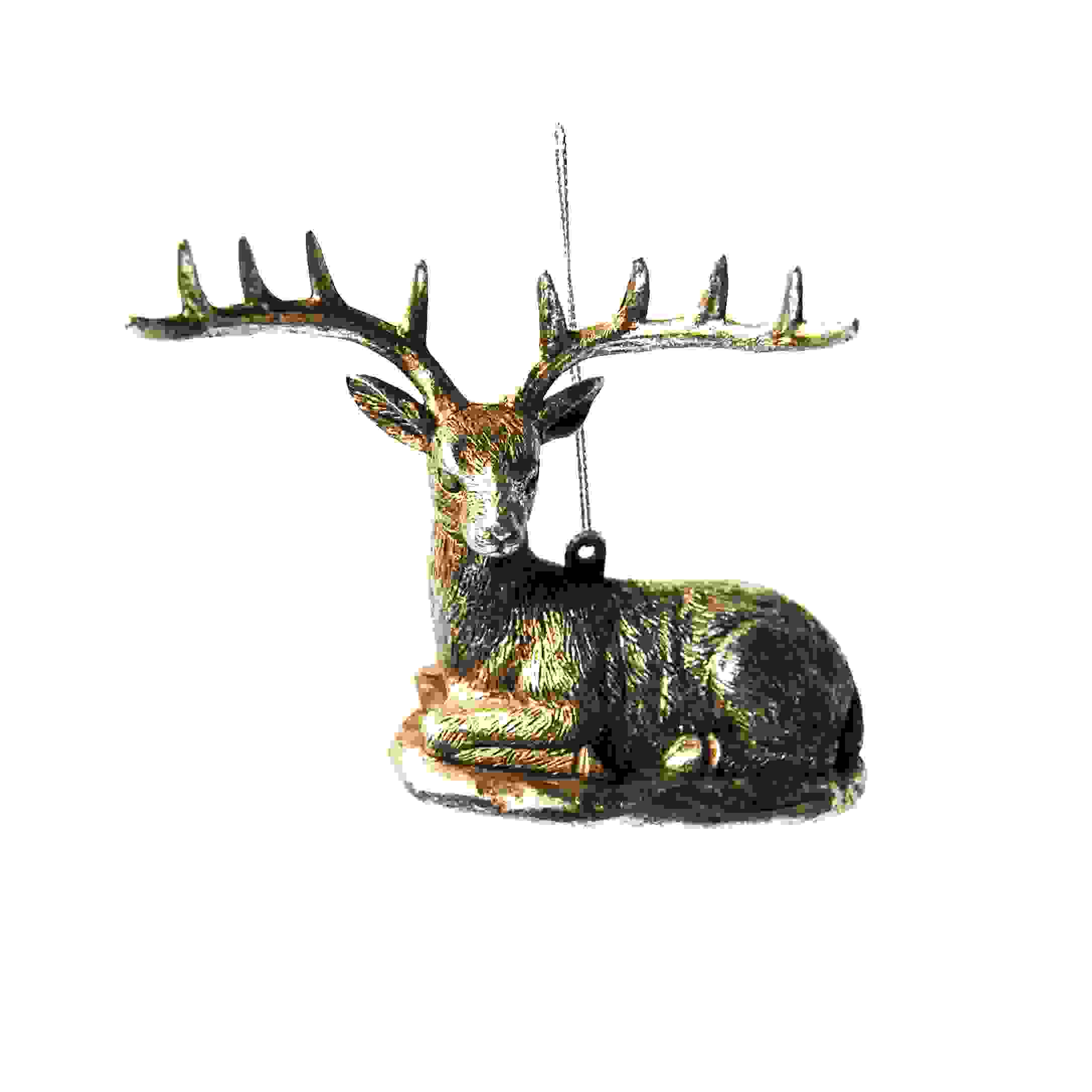 HANG. SITTING STAG 10cm CHAMPAGNE