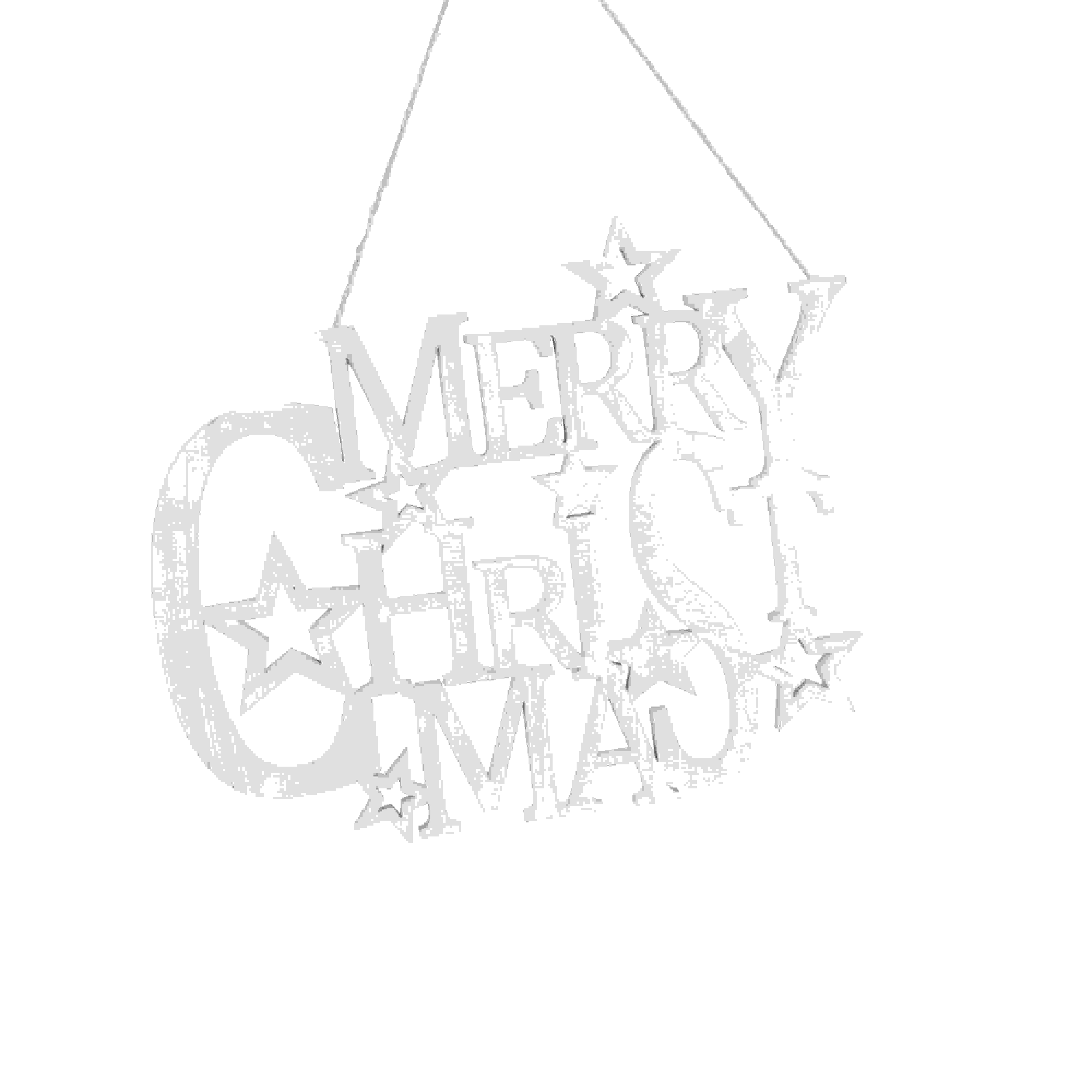 HANG MERRY CHRISTMAS WOOD CUTOUT SIGN