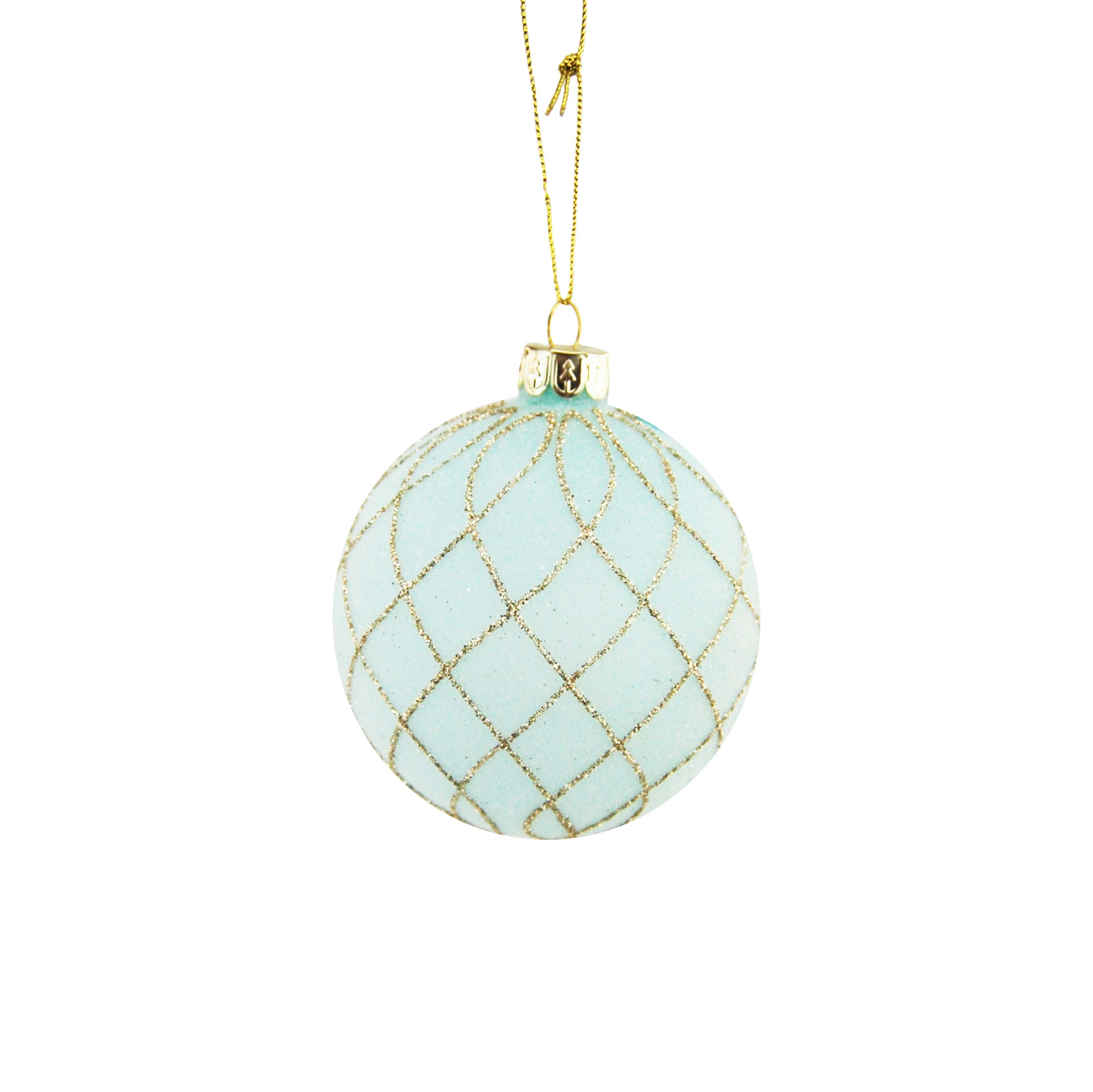 HANG. TEAL/GOLD GLITTER BAUBLE 8cm
