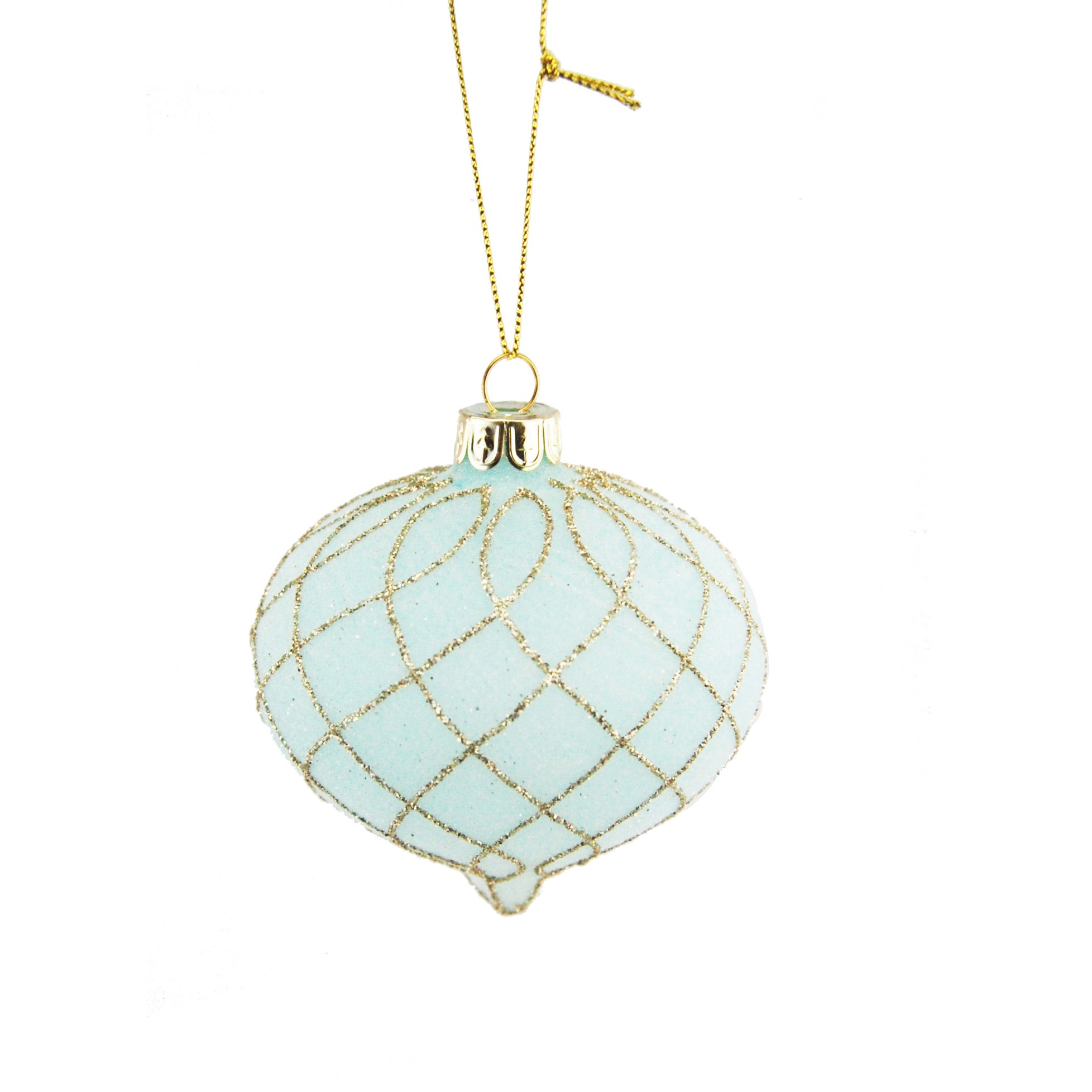 HANG. TEAL/GOLD GLITTERED TEARDROP BAUBLE 8cm
