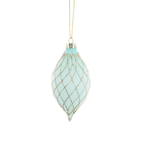 HANG. TEAL/GOLD GLITTERED BAUBLE 12cm