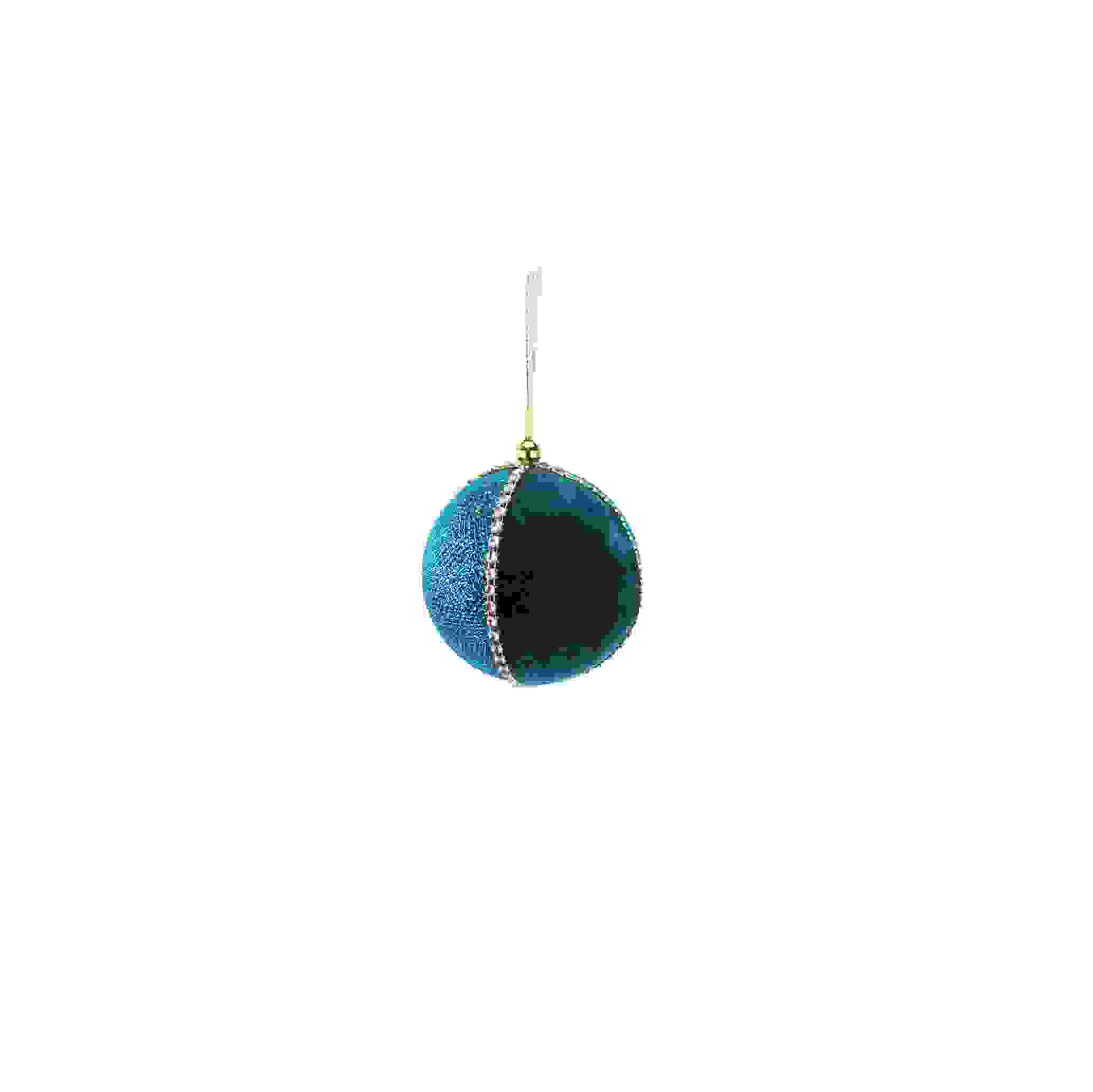 HANG. TEAL/GOLD GLITTERED LEAF BAUBLE