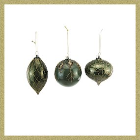 BAUBLES BOX OF 3 GREEN/GOLD GLITTERED