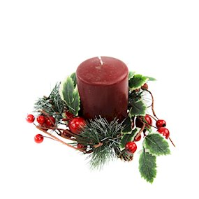 CANDLE RING 8cm HOLLY BERRY