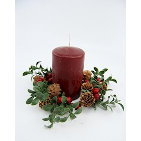 CANDLE RING 9cm MISTLETOE/RED BERRY