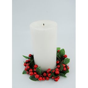 CANDLE RING 10cm BERRY LEAF