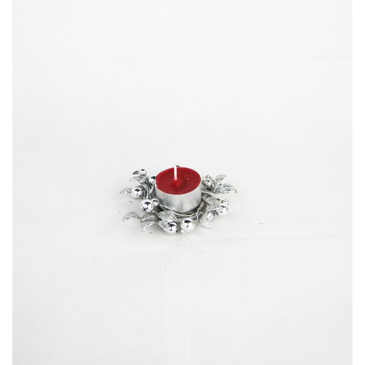 CANDLE RING 4cm BEAD LEAF SILVER