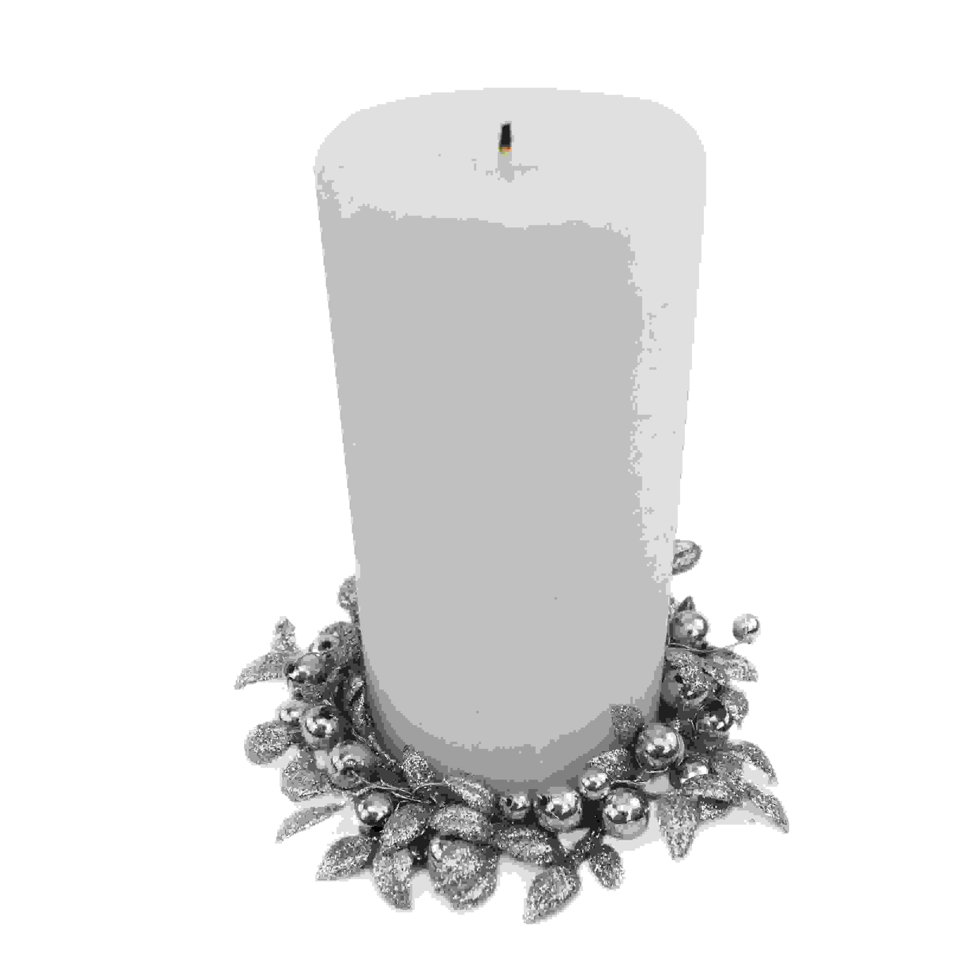 CANDLE RING 8cm BEAD LEAF SILVER