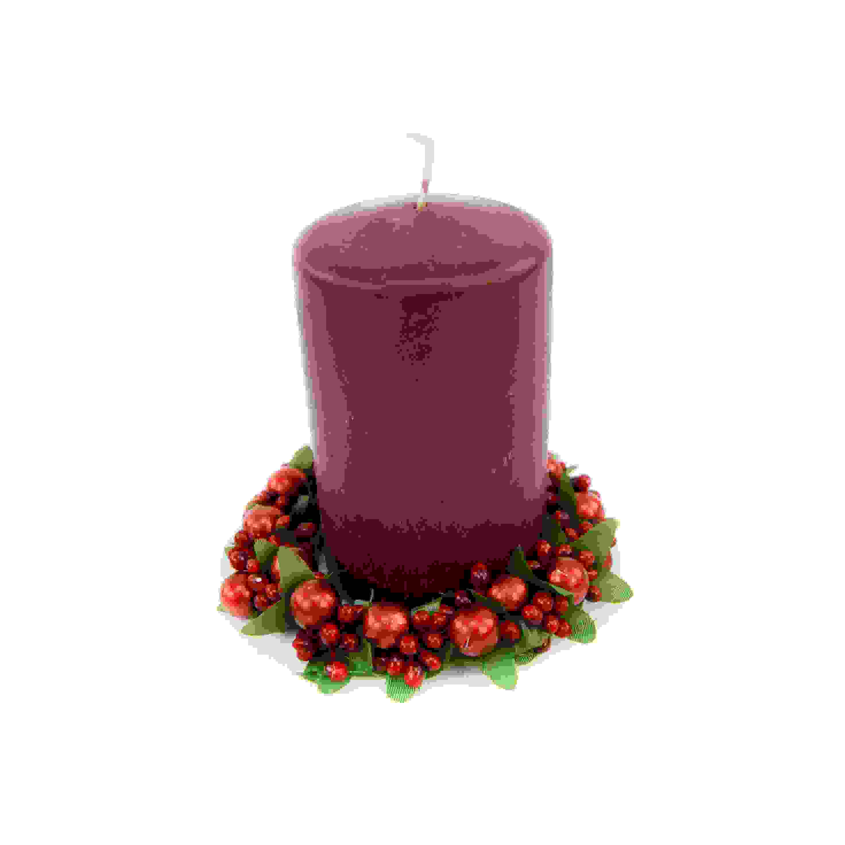CANDLE RING 7cm BERRY BAUBLE RED