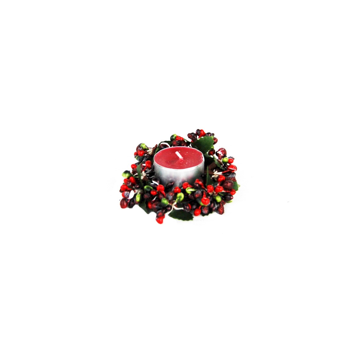 CANDLE RING 4cm BERRY BURG./GREEN