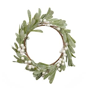 CANDLE RING 15cm MISTLETOE WHITE BERRY