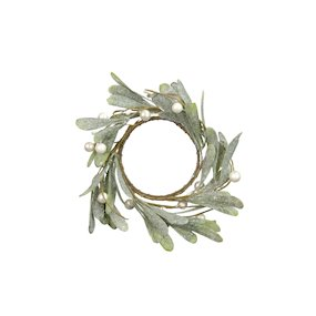 CANDLE RING 9.5CM FROST/MISTLETOE