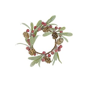 CANDLE RING  9cm RED BERRY/PINECONE