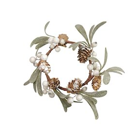 CANDLE RING PINECONE/WHITE BERRY 8.5cm