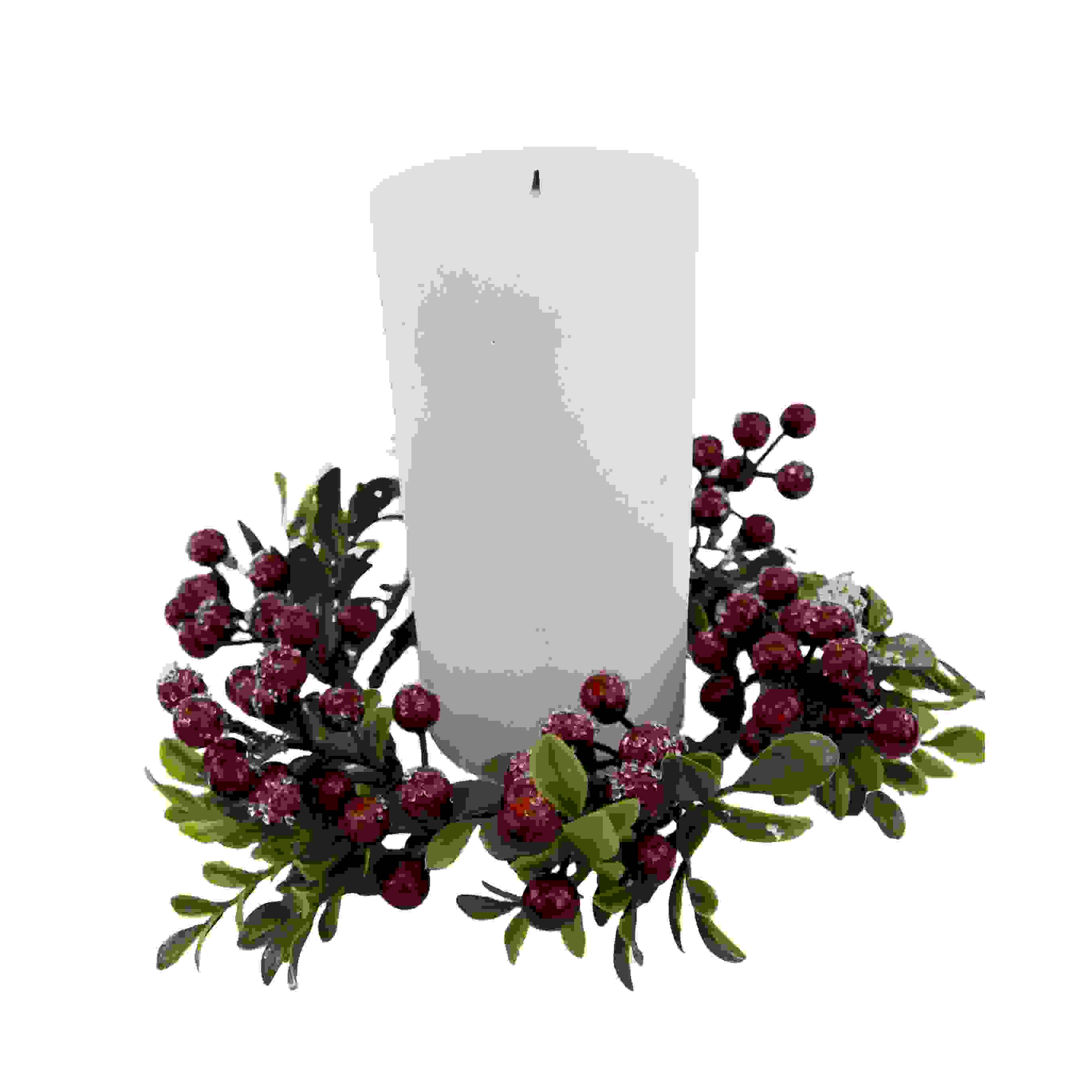 CANDLE RING 10cm BERRY/CONE/TWIG LEAF
