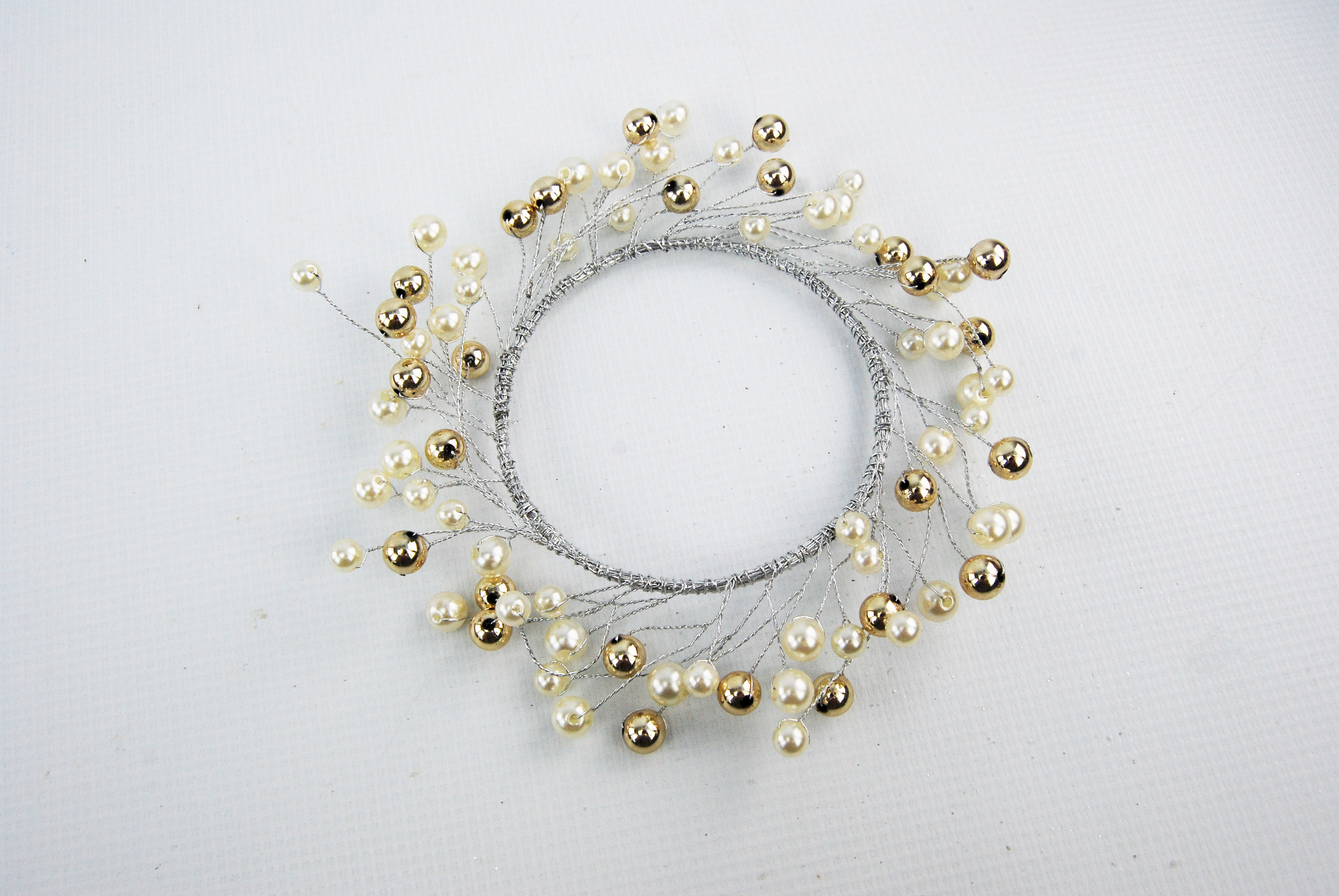 CANDLE RING 9CM PEARL GOLD BALL