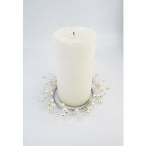 CANDLE RING 9CM PEARL/CRYSTAL