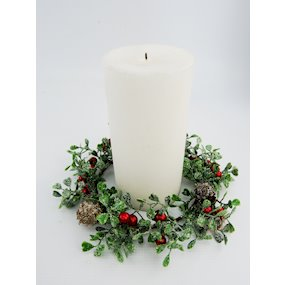 CANDLE RING 12cm GLIT. MIST/RED BERRY P/CONE
