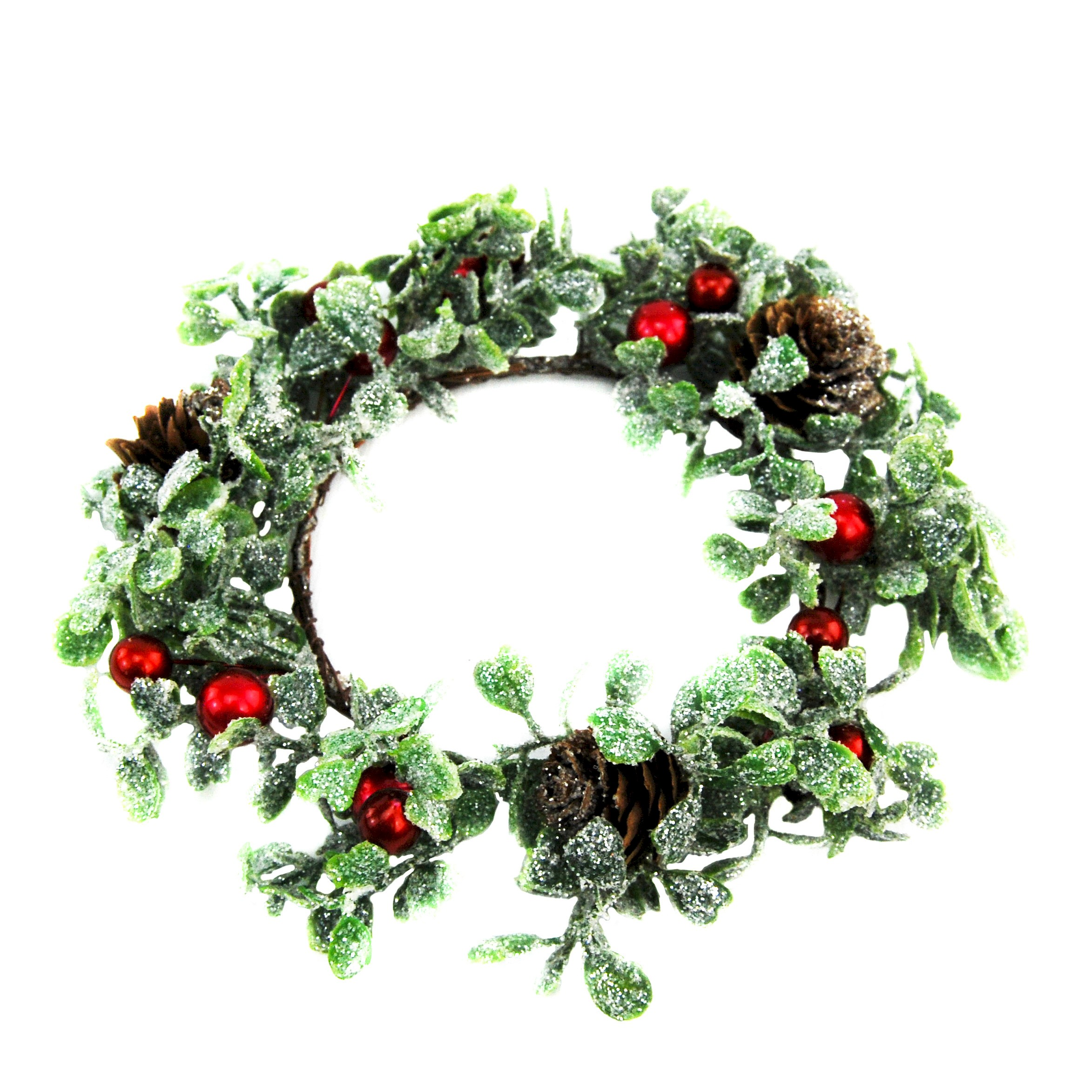 CANDLE RING GLIT. MISTLETOE/RED BERRY PINECONE