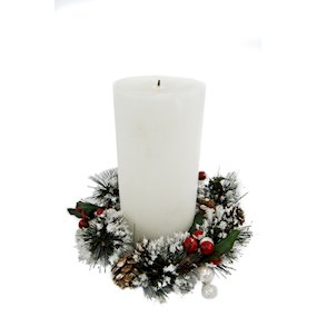 CANDLE RING 10cm SNOW/FIR/LEAF/PINECONE