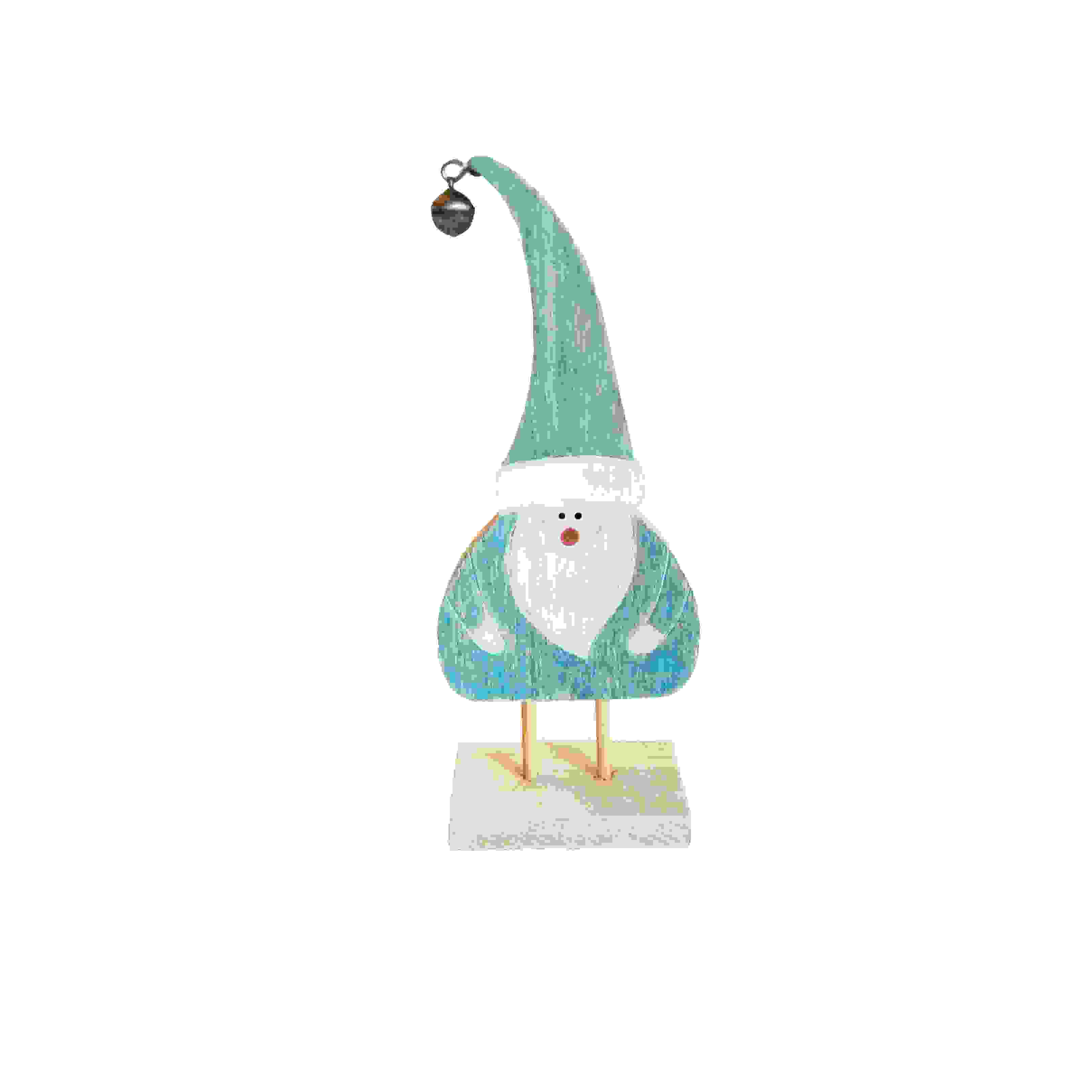 STANDING TEAL WOOD SANTA CLAUS 18cm